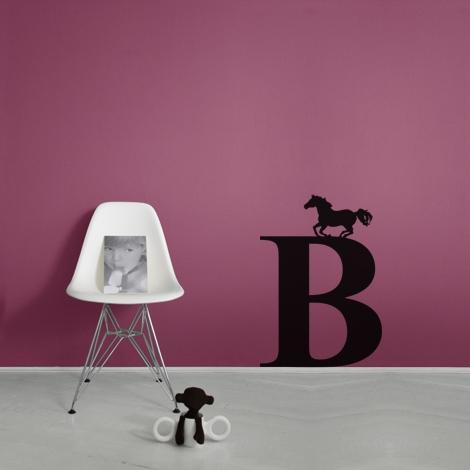 Geboortestickers Horse on letter